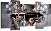Schilderij | Canvas Schilderij Oldtimer, Auto | Grijs, Zwart | 120x65cm 5Luik | Foto print op Canvas