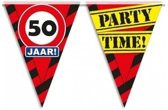 3x 50 jaar vlaggenlijn / slinger waarschuwingsbord 10mtr