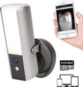 Slimme Draadloze IP Camera met geïntegreerde Dimbare Buitenlamp van Secufirst, Bewegingssensor, nachtzicht,  Melding op App, WiFi of LAN, geen verbogen kosten, Inclusief Micro SD Kaart