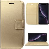 Lederen Hoesje Wallet voor Apple iPhone Xr Goud - Book Case Cover van iCall