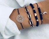 4) Zwarte armband 4-delig - armband met half maantje - armband met halve maan - kralenarmband met hartje - armband met schelpjes - armband met figuren - Tibri