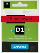 Lettertape Dymo D1 45807 Zwart op Rood 19mmx7m