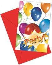 Uitnodigingen Met Evenloppe Ballonnen 6/Stuks