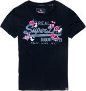 Superdry V Logo Embroider Floral Entry  Sportshirt - Maat L  - Vrouwen - donker blauw/roze/grijs
