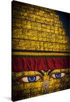 Mooie gouden kleur Bouddhanath in Nepal Canvas 60x90 cm - Foto print op Canvas schilderij (Wanddecoratie woonkamer / slaapkamer)