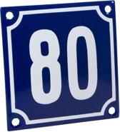 Emaille huisnummer blauw/wit nr. 80 10x10cm