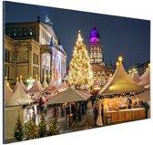 Typisch Berlijnse kerstmarkt Aluminium 90x60 cm - Foto print op Aluminium (metaal wanddecoratie)