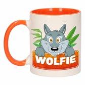 1x Wolfie beker / mok - oranje met wit - 300 ml keramiek - wolven bekers