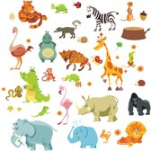 Decoratieve muursticker | Animal Jungle | dieren | oerwoud