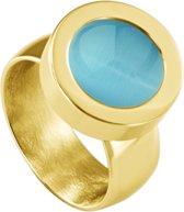 Quiges RVS Schroefsysteem Ring Goudkleurig Glans 20mm met Verwisselbare Cat's Eye Blauw 12mm Mini Munt