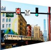 Metro in Chicago Aluminium 60x40 cm - Foto print op Aluminium (metaal wanddecoratie)