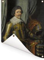 Portret van Frederik Hendrik prins van Oranje - Schilderij van Michiel Jansz van Mierevelt Tuinposter 120x160 cm - Tuindoek / Buitencanvas / Schilderijen voor buiten (tuin decoratie) XXL / Groot formaat!