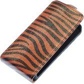 Donker Bruin Zebra Flip case hoesje voor Apple iPhone 4 / 4S