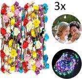 LED Verlichting Bloemen Haarband Set - Hair Flower Haarkrans / Strand Ibiza Haar Band - 3X