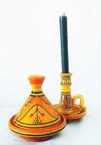 Handgemaakte en handbeschilderde Marokkaanse mini tajine met Marokkaanse kandelaar / asbak