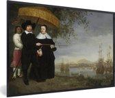 Foto in lijst - Een opperkoopman van de VOC - Schilderij van Aelbert Cuyp fotolijst zwart 60x40 cm - Poster in lijst (Wanddecoratie woonkamer / slaapkamer)