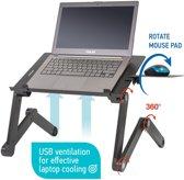 Ergonomische Laptoptafel Met Muismat & Actieve USB Ventilator Koeling - 360 Graden Verstelbaar - 7-17 Inch Notebook & Tablet Stand - Apple Macbook - Voor Op Bed/Schoot/Bank/Bureau - Zwart