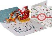 Popcards popupkaarten - Kerstkaart kerstman met rendier en arrenslee pop-up kaart