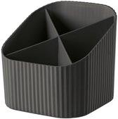 Bureau organizer/pennenbakje zwart  4- vaks- 11 x 12 x 10 cm - organisers kantoor artikelen