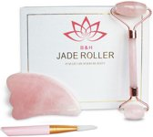 Premium B&H Jade Roller Gezicht massage Roller Inclusief Gua Sha Rose Quartz Steen en Gratis Face Brush