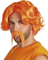 Pruik oranje met snor