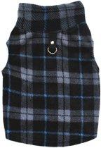 Jasje maat S voor kleine hond chihuahua Yorkshire Terriër fleece met ruitjes zwart-grijs-blauw