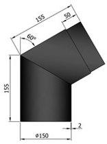 TT Kachelpijp Ø150 bocht 60º zwart - zwart- staal - 2mm - bocht - Ø150mm