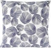 Sierkussen decoratie kussen Leaves 45 x 45 cm blauw wit