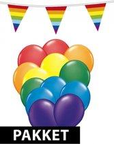 Regenboog versiering en feestartikelen pakket groot