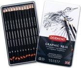 Derwent Graphic Soft potloden set in blik assorti 12 stuks
