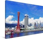 Skyline van de Kobe haven in Japan Canvas 90x60 cm - Foto print op Canvas schilderij (Wanddecoratie woonkamer / slaapkamer) / Aziatische steden Canvas Schilderijen