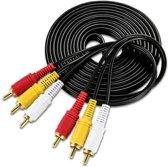 Tulp Naar Tulp Verlengkabel - 3x RCA Male To 3x RCA Male Extension Cable - AV Composietkabel - Composiet Verlengsnoer - 3 Meter