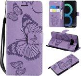 Samsung Galaxy S8 Plus Bookcase hoesje vlinders (paars)