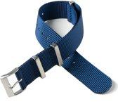Chibuntu® horloge band - Nato Strap - Blauw - 20 mm