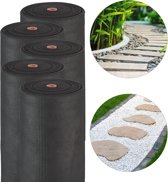 relaxdays 5 x worteldoek gronddoek 50g/m² - anti onkruiddoek - antiworteldoek - zwart