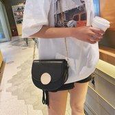 PU lederen één schoudertas dames handtas messengertas (zwart)