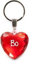 sleutelhanger - Bo - diamant hartvormig rood
