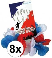 8x Hawaii armbandjes rood/wit/blauw