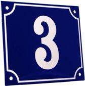 Emaille huisnummer blauw/wit groot nr. 3 18x15cm
