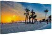 Venice beach zonsondergang Canvas 60x40 cm - Foto print op Canvas schilderij (Wanddecoratie)