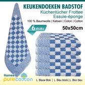 Homéé® Keukendoek hemel blauw / wit geblokt - 50x50cm - set van 6 stuks - 100% katoenen badstof