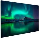Noorderlicht bij de Lofoten in Noorwegen Glas 120x80 cm - Foto print op Glas (Plexiglas wanddecoratie)