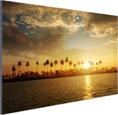 Palmbomen bij zonsondergang Aluminium 180x120 cm - Foto print op Aluminium (metaal wanddecoratie) XXL / Groot formaat!