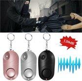 Zelfverdediging / Beveiliging Persoonlijk Alarm met Sleutelhanger en LED Zaklamp - PSX101 - Zwart