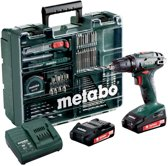 Metabo BS 18 - Accuboormachine- 18 Volt - incl. 2 li-ion (2,0 Ah) accu-packs, lader en toebehorenset