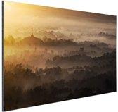 Borobudur Java Indonesie Aluminium 120x80 cm - Foto print op Aluminium (metaal wanddecoratie)