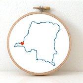 Congo borduurpatroon - geprint telpatroon om een kaart van Congo te borduren met een hart voor Kinshasa  - geschikt voor een beginner