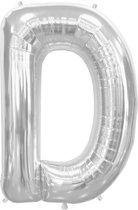 Zilverkleurige letterballon letter D - 86 cm
