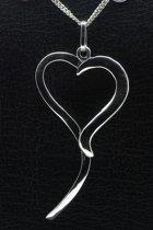 Zilveren Hart design ketting hanger - 2