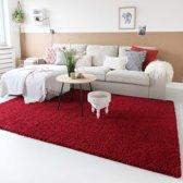 Hoogpolig vloerkleed shaggy Trend effen - rood 100x200 cm